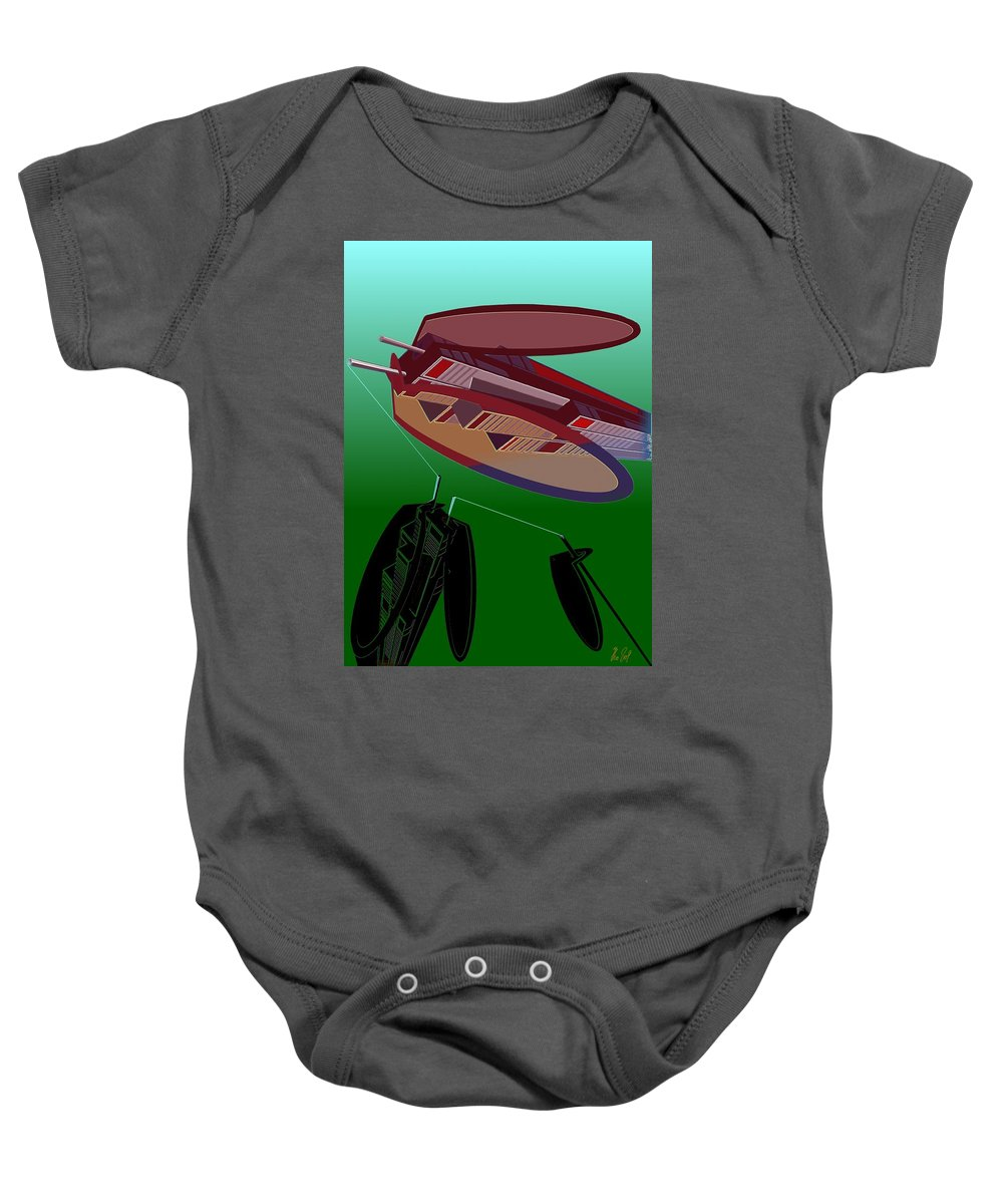 Fly Baby Onesie featuring the digital art The Flying Skyscraper by Helmut Rottler