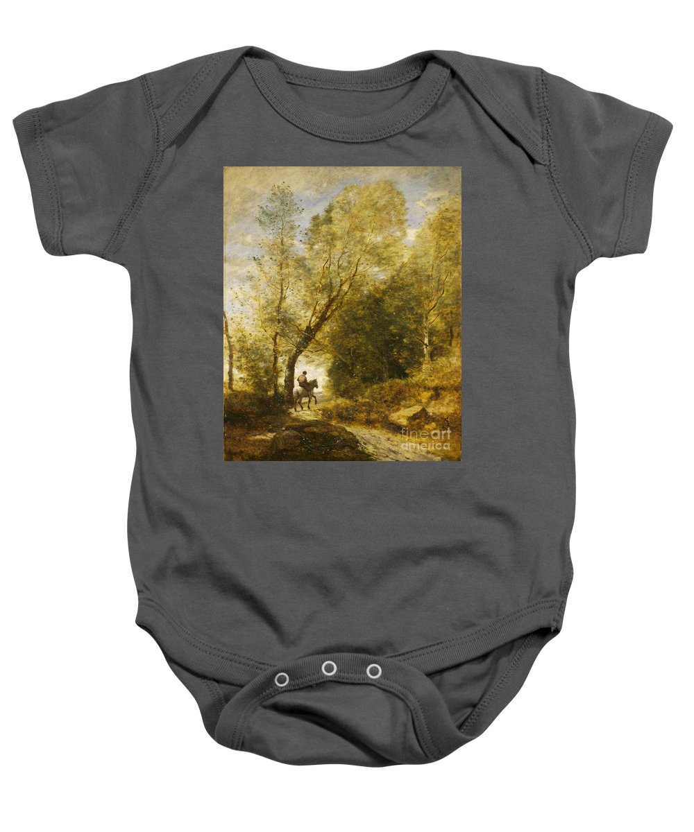 Baby Onesie featuring the painting The Forest Of Coubron by Jean-baptiste-camille Corot