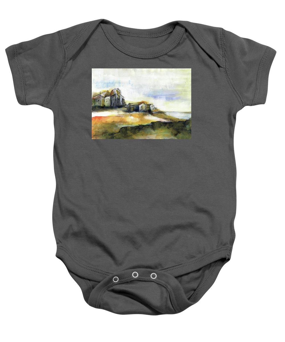 Abstract Landscape Baby Onesie featuring the painting The fortress by Aniko Hencz