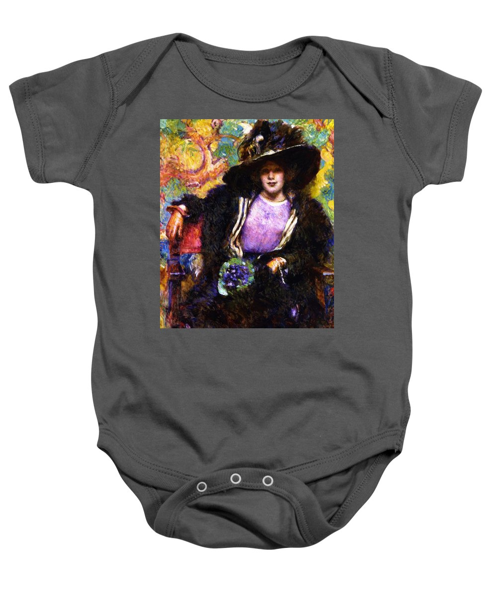 The Baby Onesie featuring the painting The Furs 1911 by Reid Robert Lewis