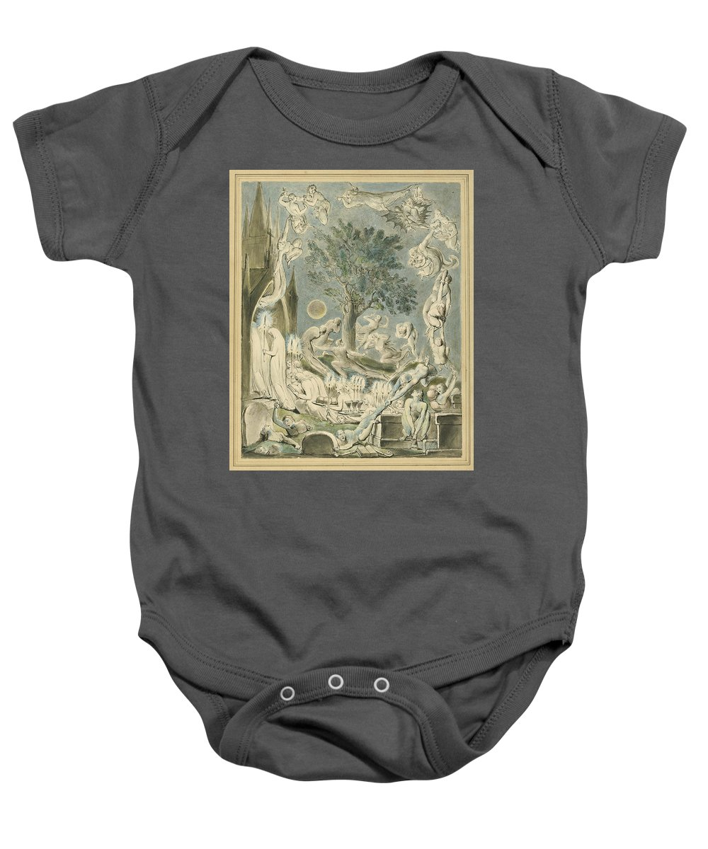 William Blake Baby Onesie featuring the drawing The Gambols Of Ghosts According With Their Affections Previous To The Final Judgement by William Blake