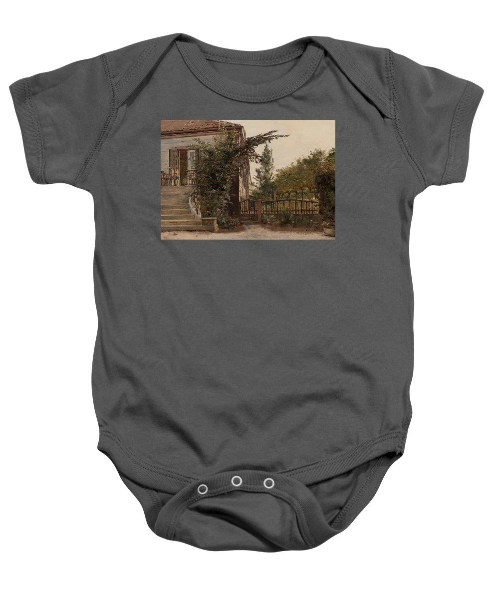 Step Baby Onesie featuring the painting The Garden Steps by Christen Schjellerup Kobke