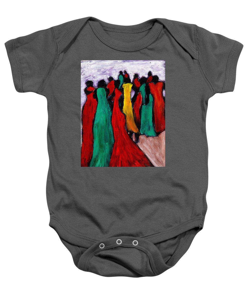 Black Art Baby Onesie featuring the painting The Gathering by Wayne Potrafka