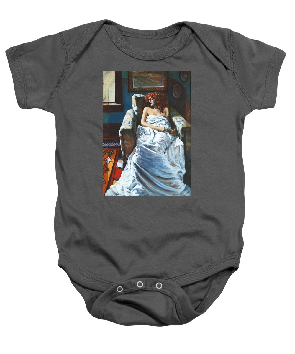 Window Baby Onesie featuring the painting The Girl In The Chair by Rick Nederlof