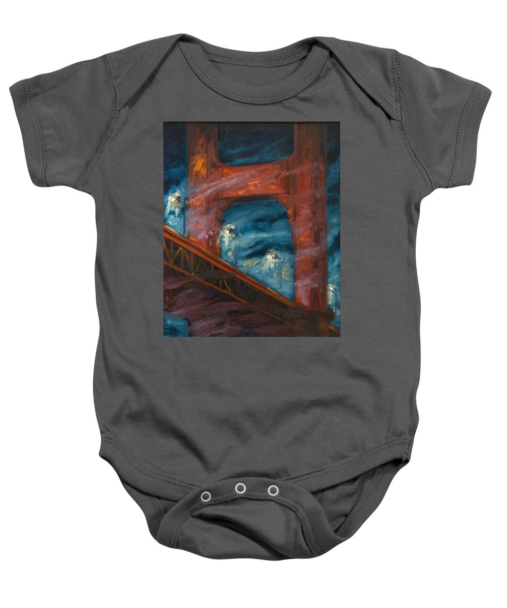 Bridge Baby Onesie featuring the painting The Golden Gate by Rick Nederlof