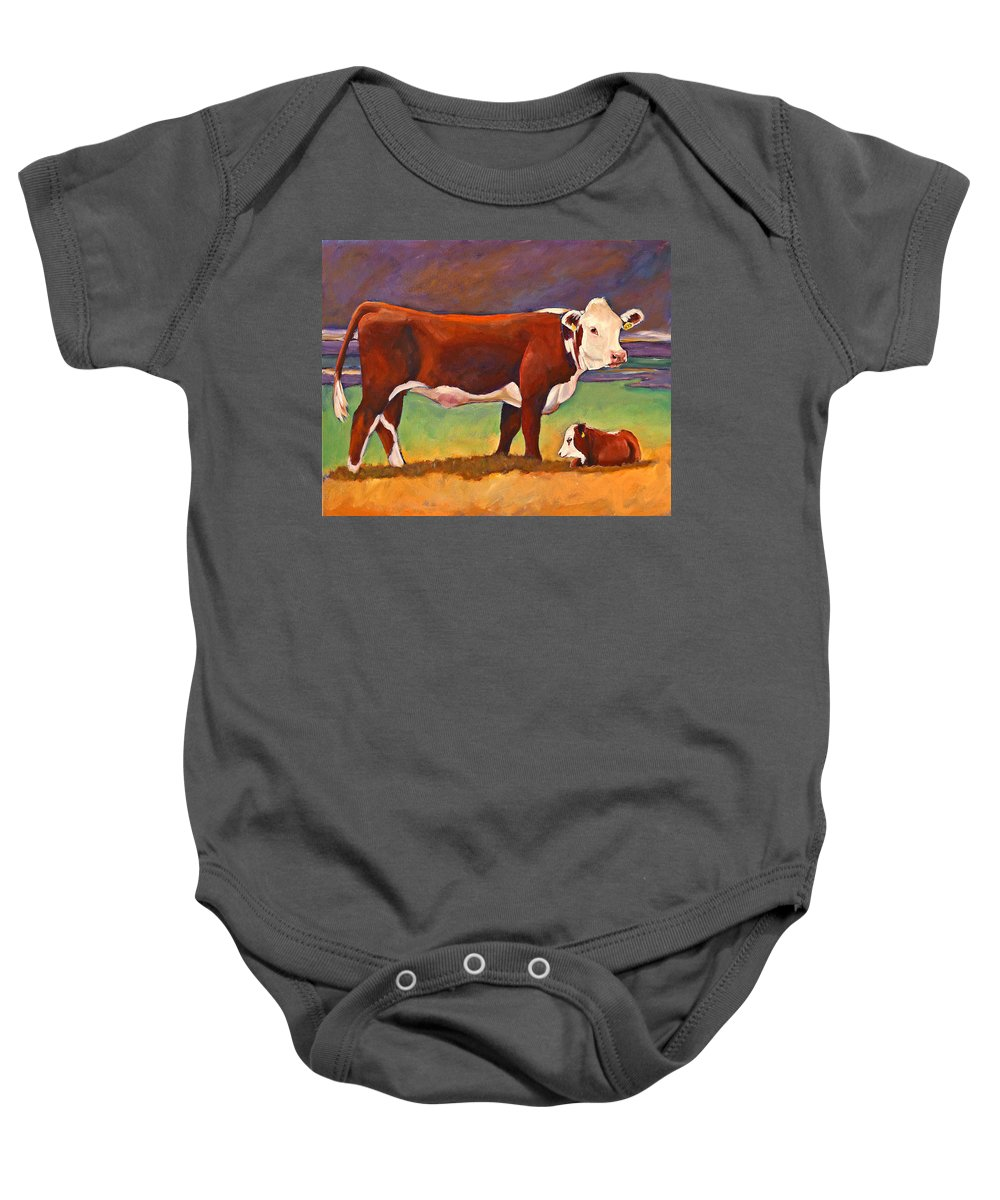 Folk Art Baby Onesie featuring the painting The Good Mom Folk Art Hereford Cow And Calf by Toni Grote