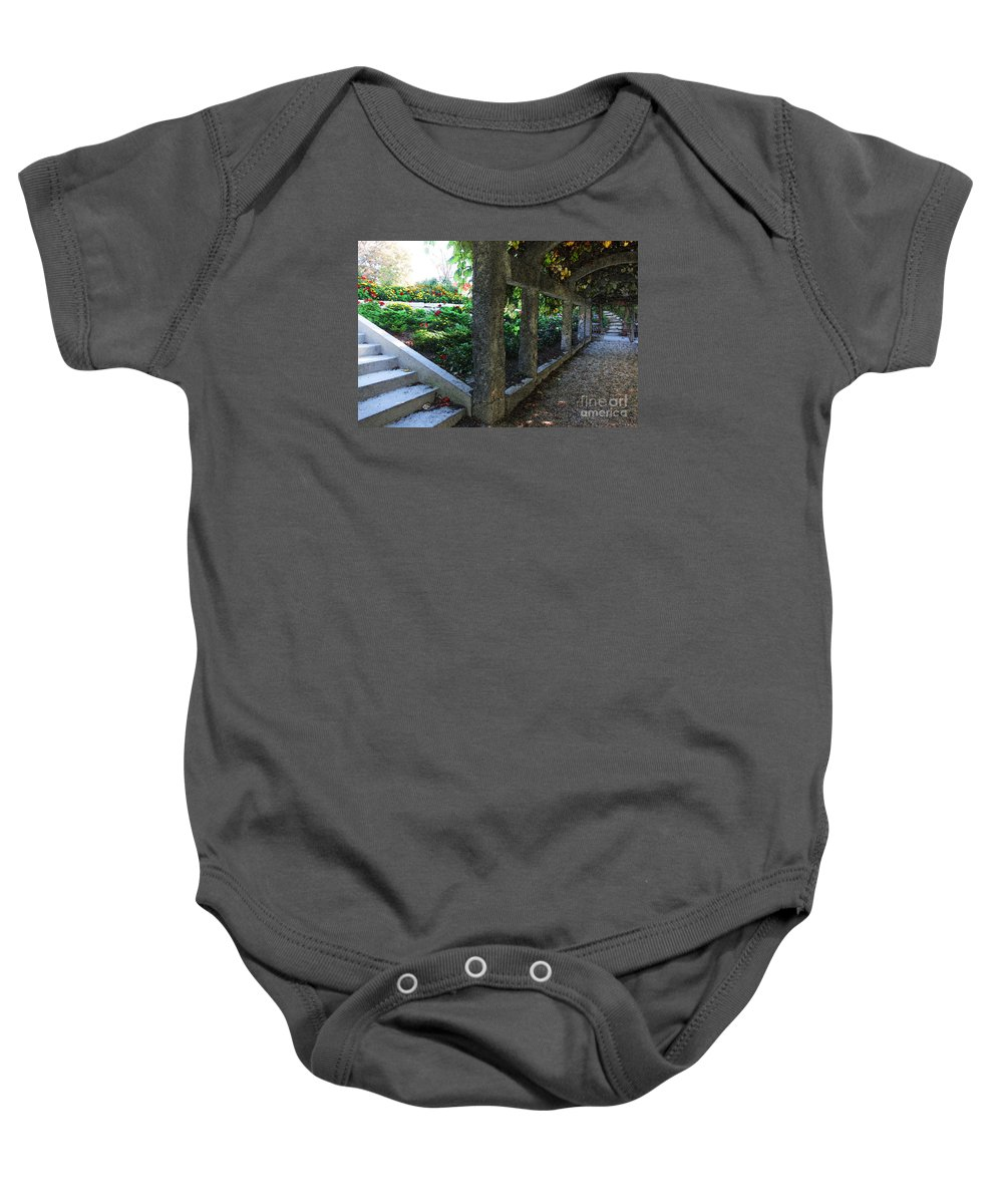 Landscape Baby Onesie featuring the digital art The Grape Arbor Path by David Blank