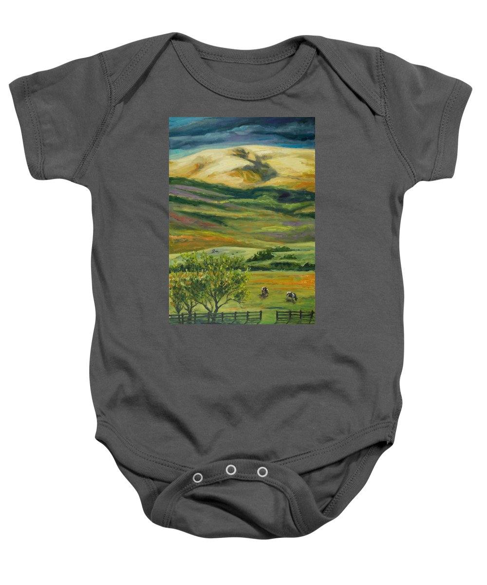 California Hills Baby Onesie featuring the painting The Grapevine by Rick Nederlof
