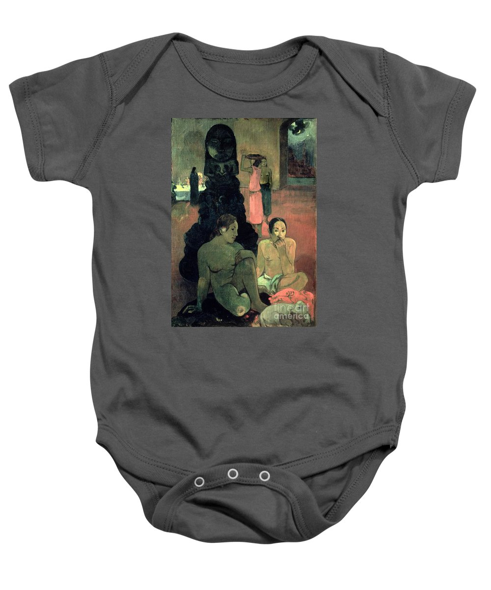 The Great Buddha Baby Onesie featuring the painting The Great Buddha by Paul Gauguin
