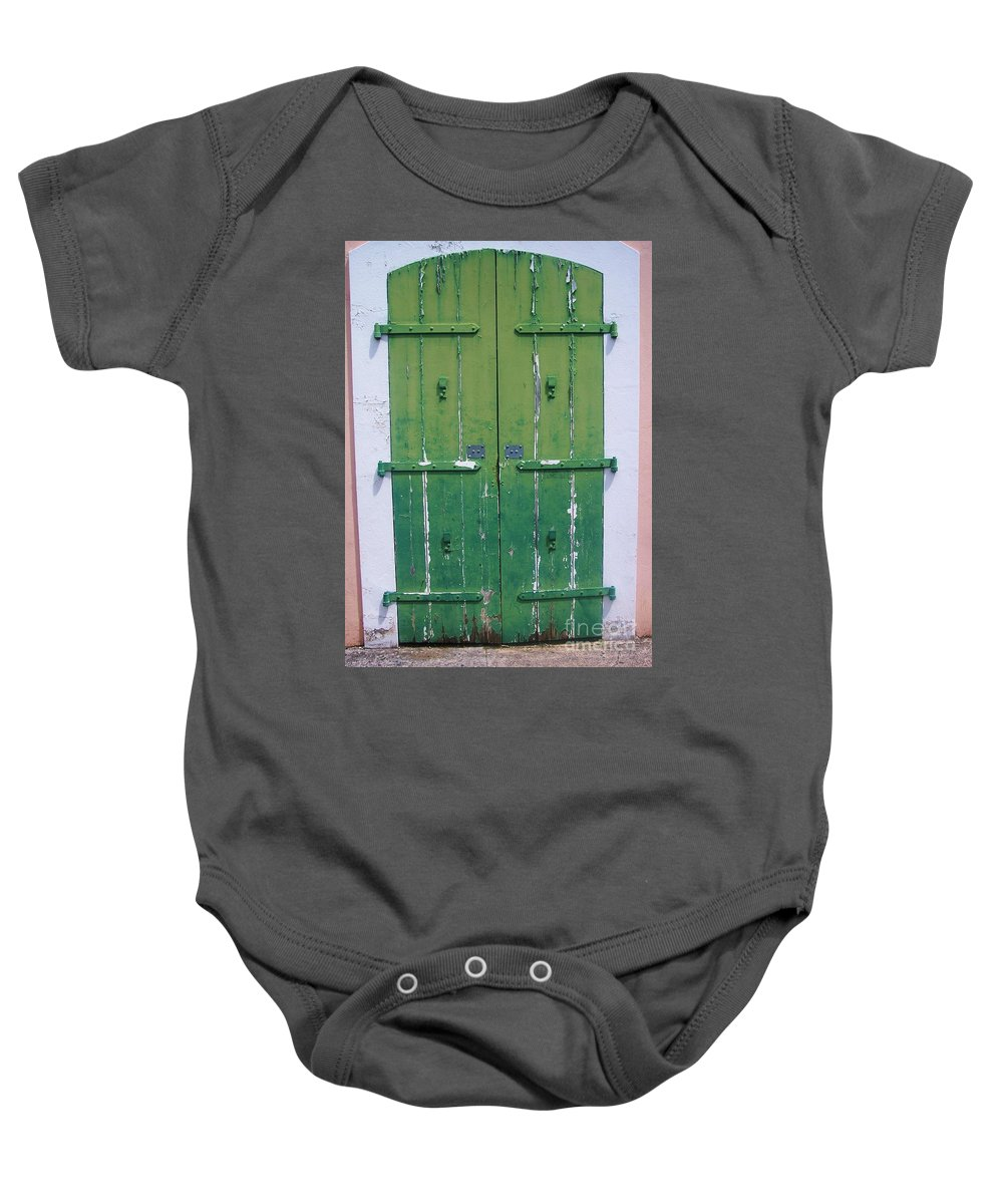 Architecture Baby Onesie featuring the photograph The Green Door by Debbi Granruth