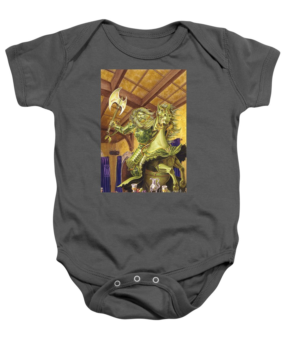 Fine Art Baby Onesie featuring the painting The Green Knight by Melissa A Benson