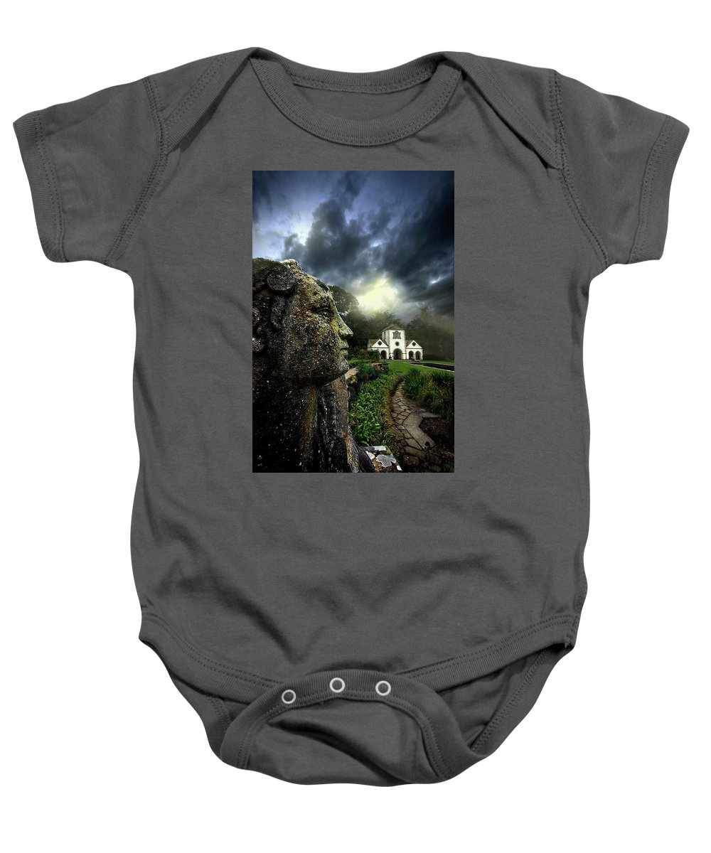 Statue Baby Onesie featuring the photograph The Guardian by Meirion Matthias