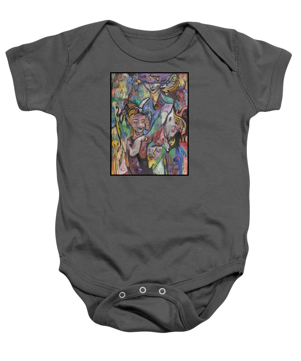 Oil Baby Onesie featuring the painting The Guardian by Mykul Anjelo