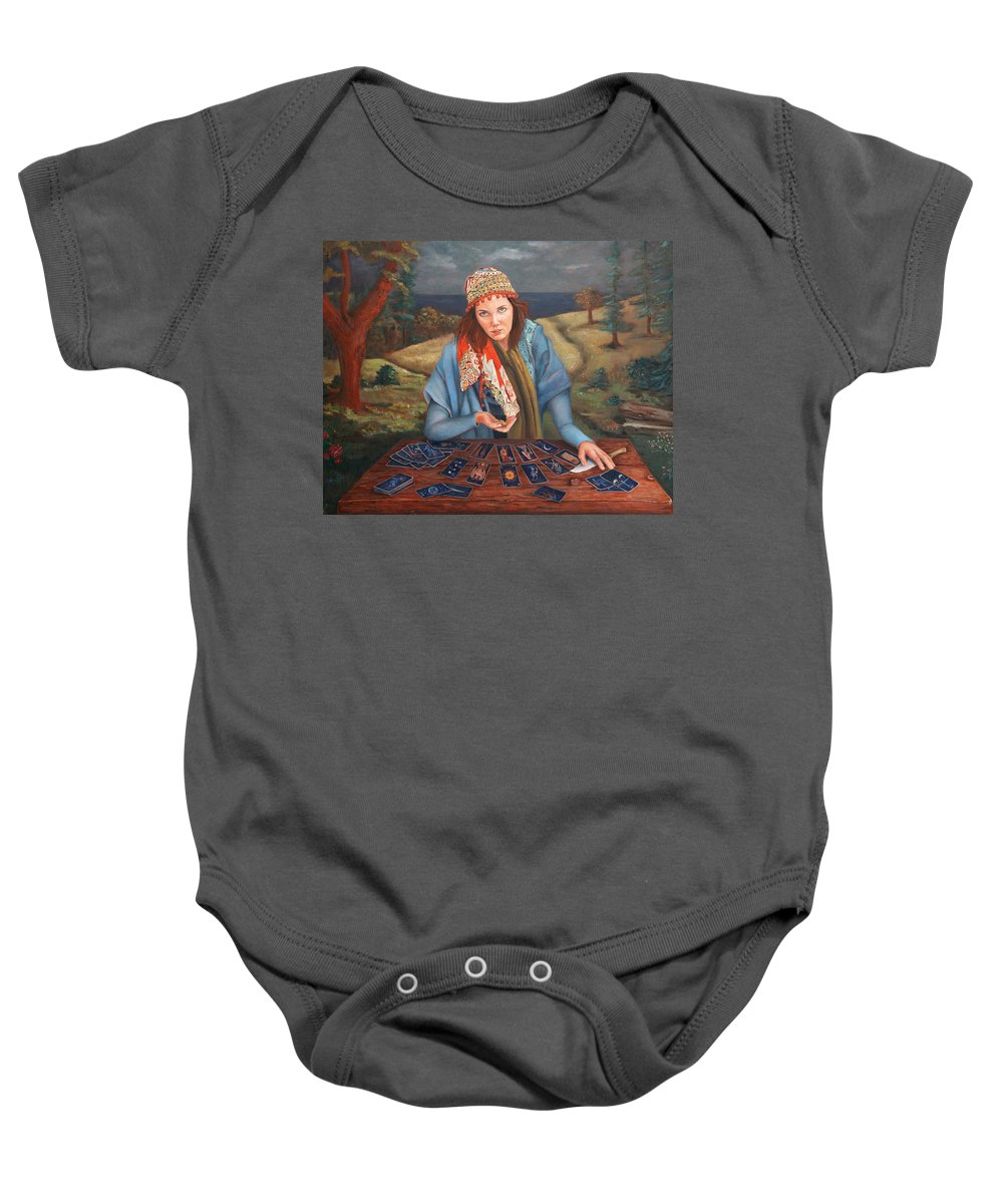 Figurative Art Baby Onesie featuring the painting The Gypsy Fortune Teller by Portraits By NC