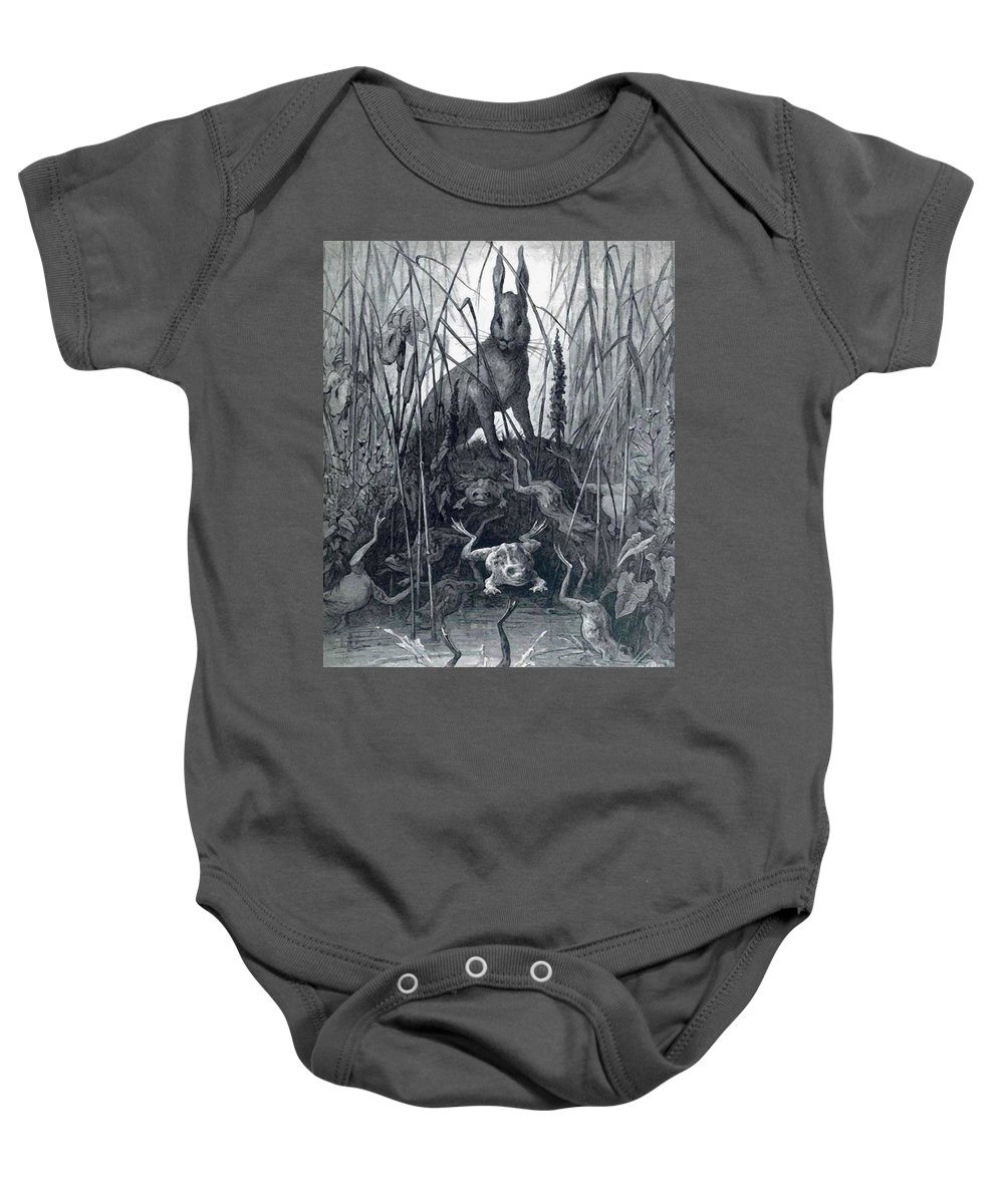 The Baby Onesie featuring the painting The Hare And The Frogs by Dore Gustave