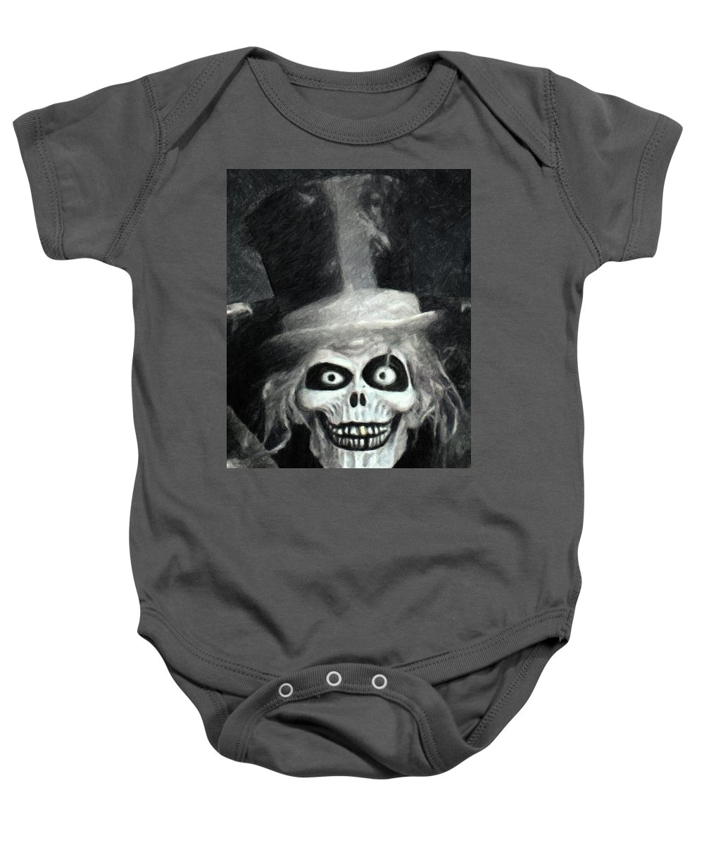 The Hatbox Ghost Baby Onesie featuring the painting The Hatbox Ghost by Zapista