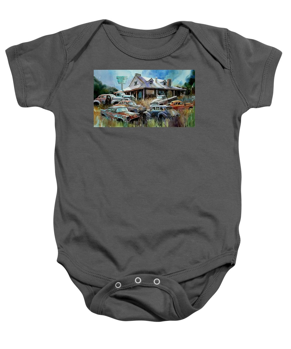 Cars House Rust Baby Onesie featuring the painting The Hideaway Of Miss Dish Kreshin by Ron Morrison