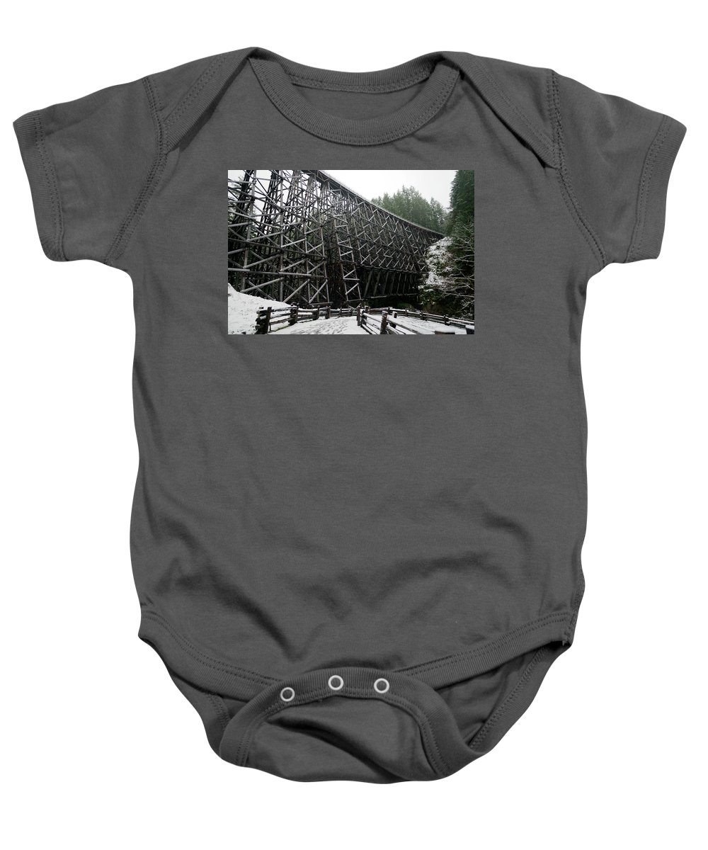 Wood Baby Onesie featuring the photograph The Historic Kinsol Trestle 3. by Andrew Kim
