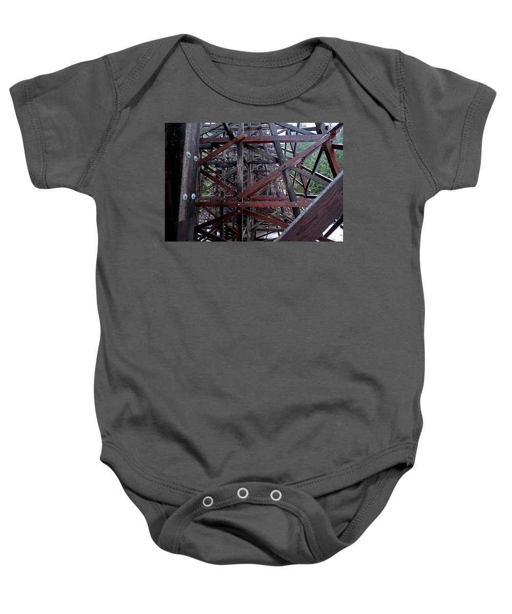 Wood Baby Onesie featuring the photograph The Historic Kinsol Trestle Inside View by Andrew Kim