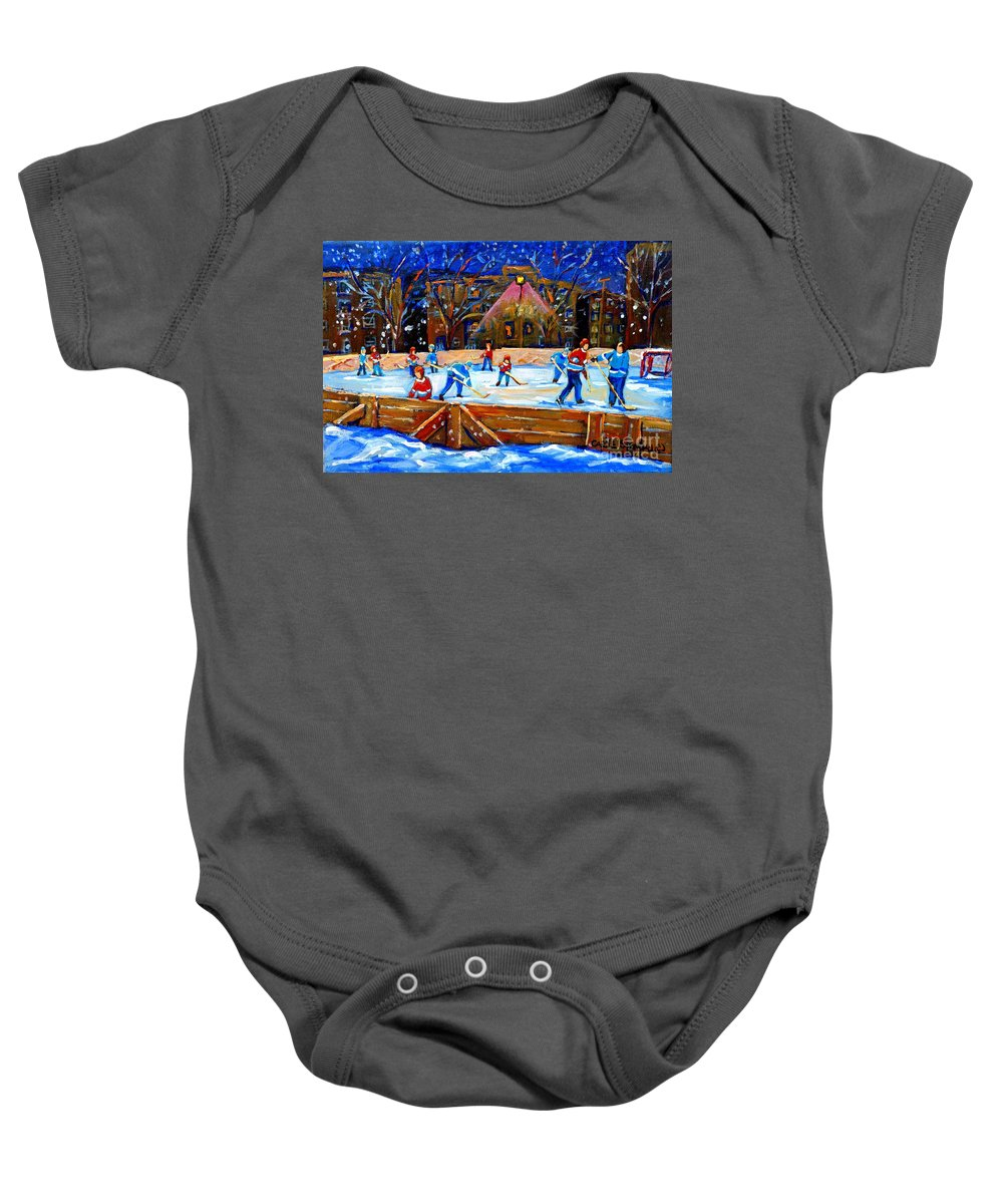 Snow Baby Onesie featuring the painting The Hockey Rink by Carole Spandau