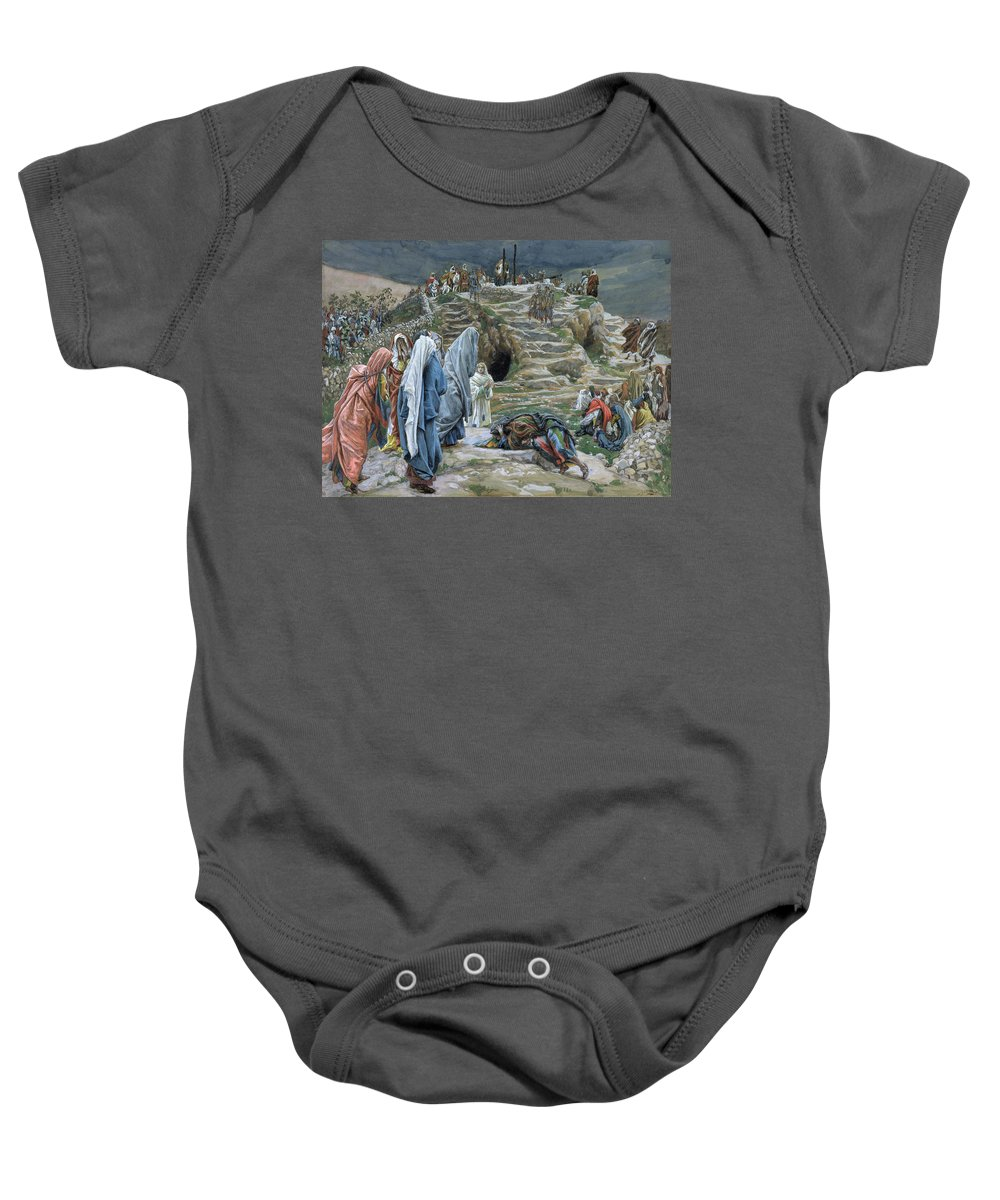 Tissot Baby Onesie featuring the painting The Holy Women Stand Far Off Beholding What Is Done by James Jacques Joseph Tissot