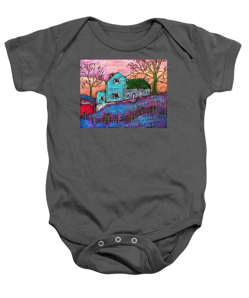 Farm Baby Onesie featuring the painting The Homestead I by Wayne Potrafka