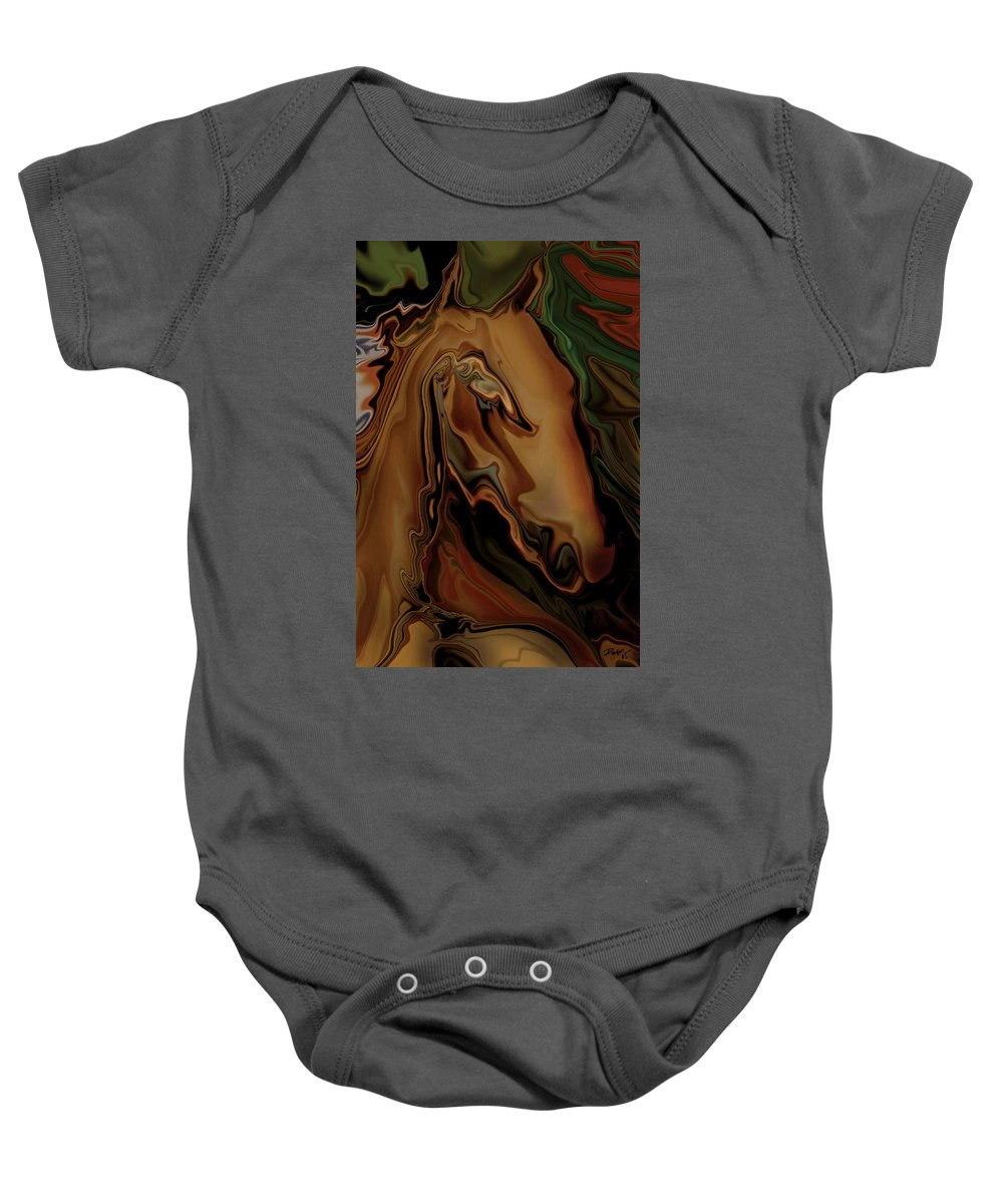 Animal Baby Onesie featuring the digital art The Horse by Rabi Khan