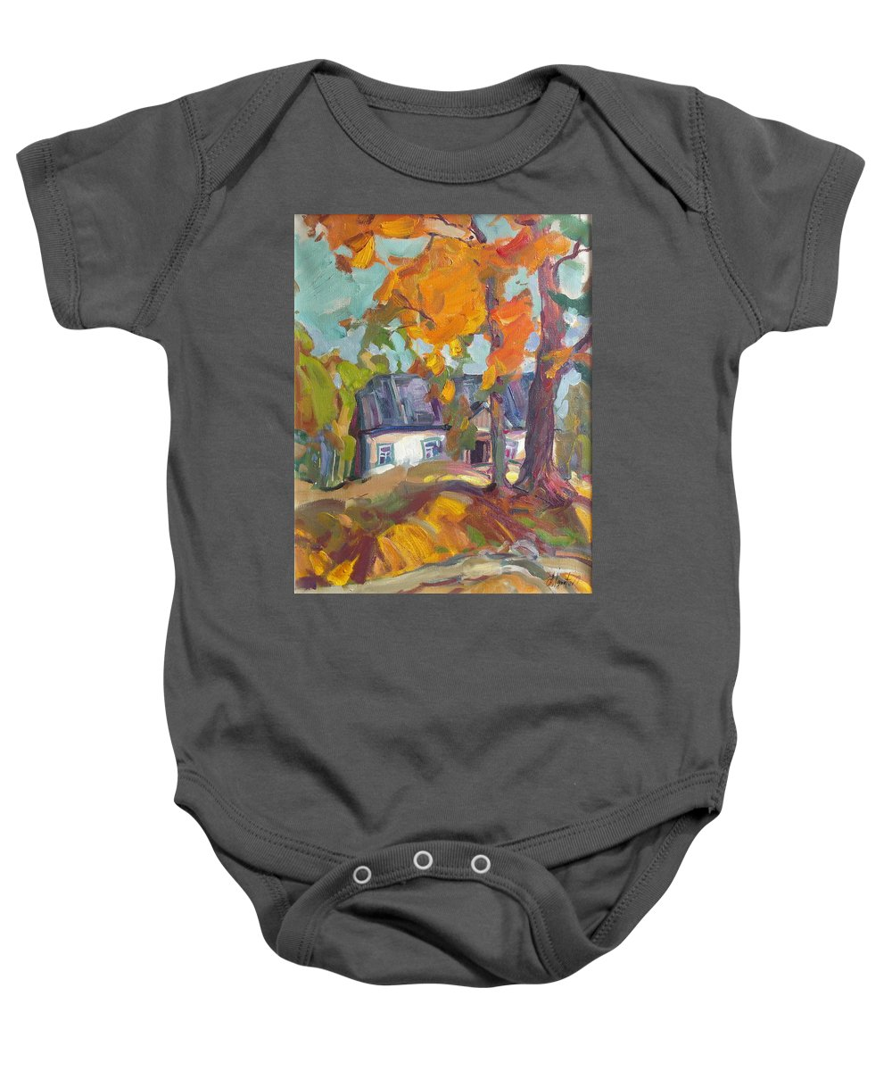 Oil Baby Onesie featuring the painting The House In Chervonka Village by Sergey Ignatenko