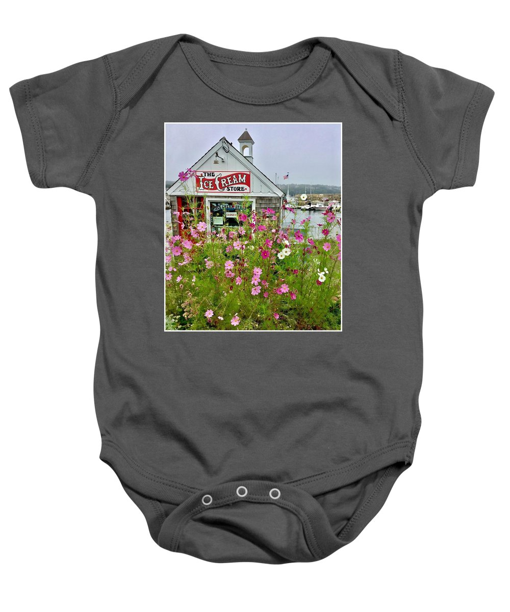 Landscape Baby Onesie featuring the photograph The Ice Cream Store On Bearskin Neck by Patricia E Sundik