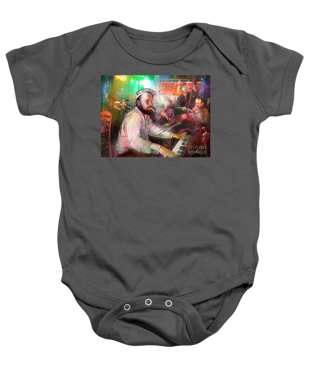 Jazz Baby Onesie featuring the painting The Jazz Vipers In New Orleans 04 by Miki De Goodaboom
