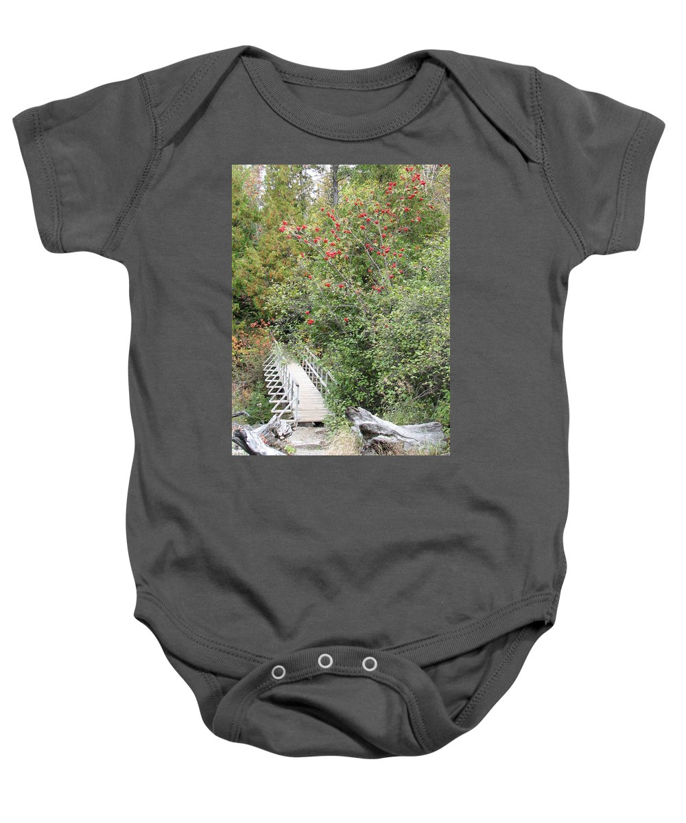 Bridge Baby Onesie featuring the photograph The Journey by Kelly Mezzapelle