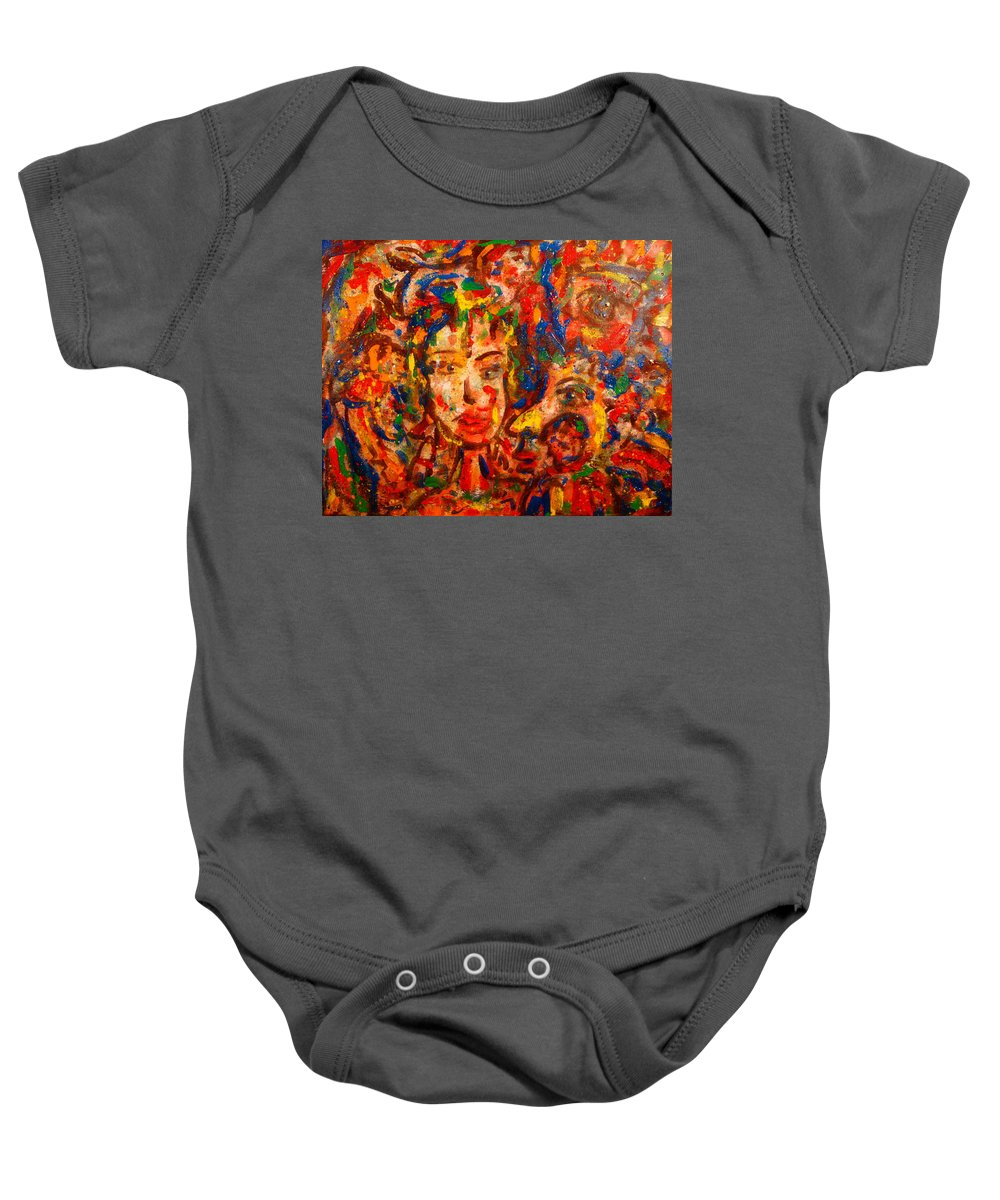 Abstract Baby Onesie featuring the painting The King And I by Natalie Holland