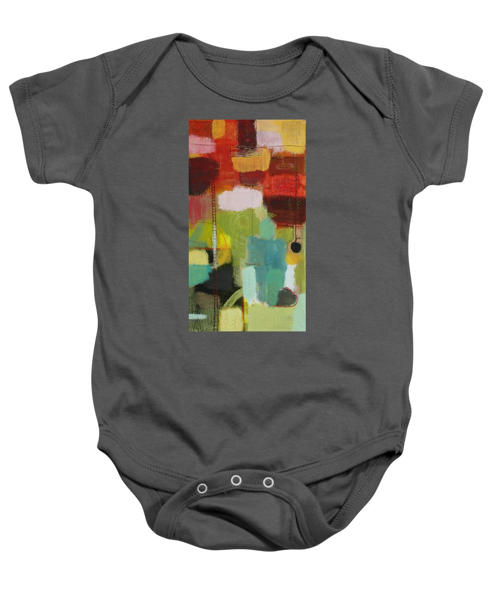 Abstract Baby Onesie featuring the painting The Ladder Of Life by Habib Ayat