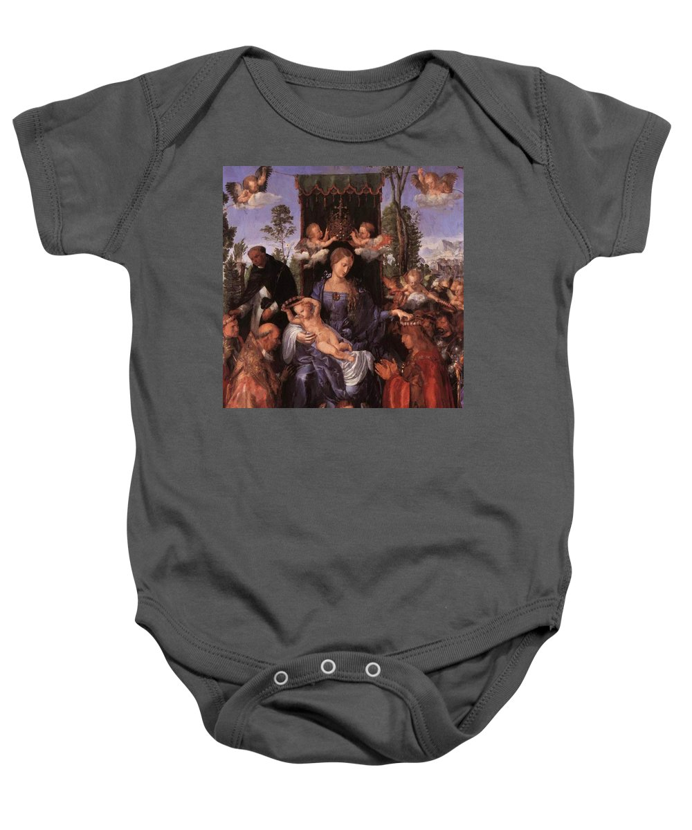 The Baby Onesie featuring the painting The Lady Of The Festival Du Rosaire Fragment by Durer Albrecht