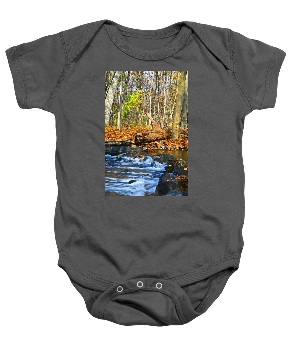 Fall Baby Onesie featuring the photograph The Last Of The Fall Color by Robert Pearson