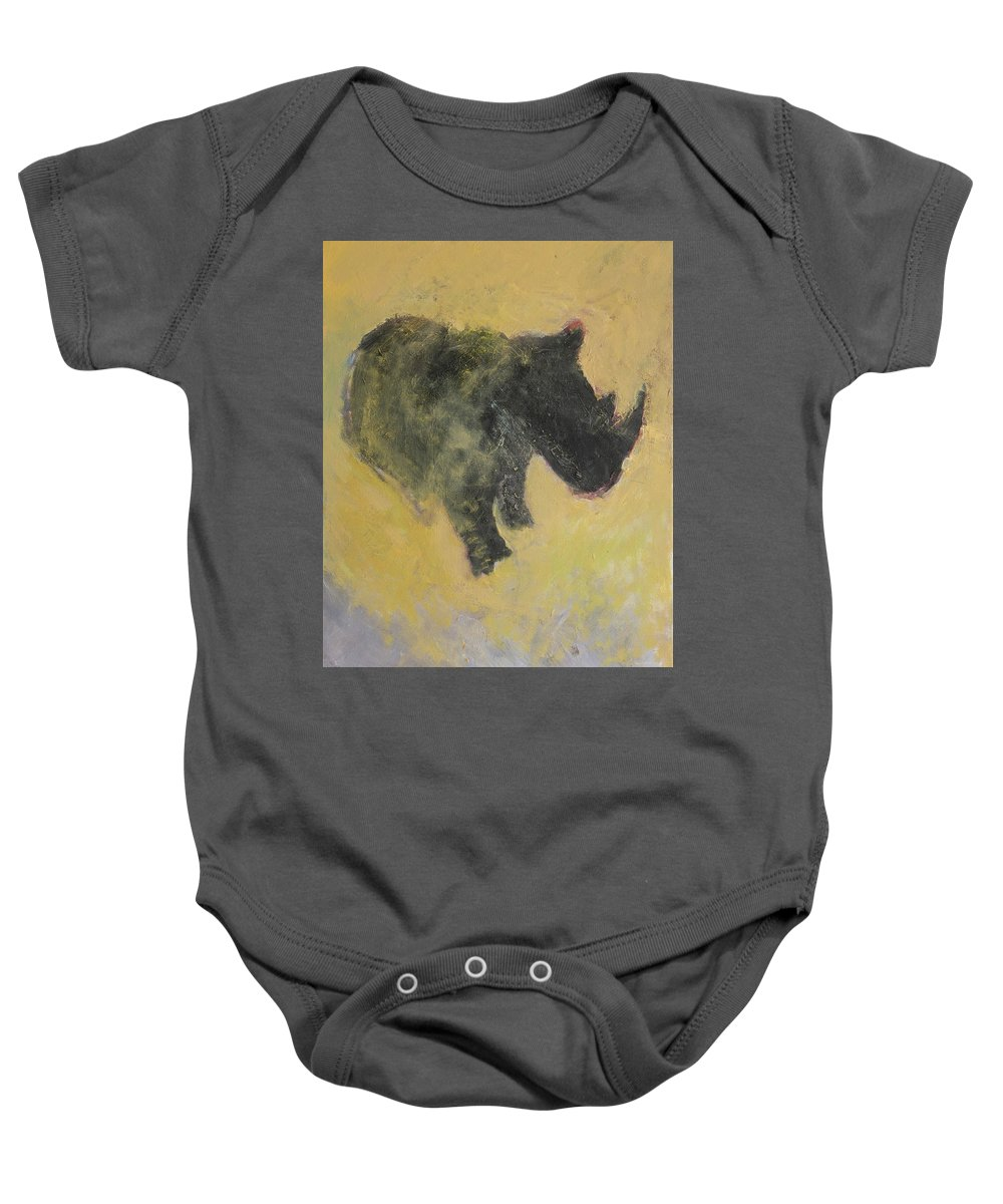 Rhino Baby Onesie featuring the painting The Last Rhino by Craig Newland