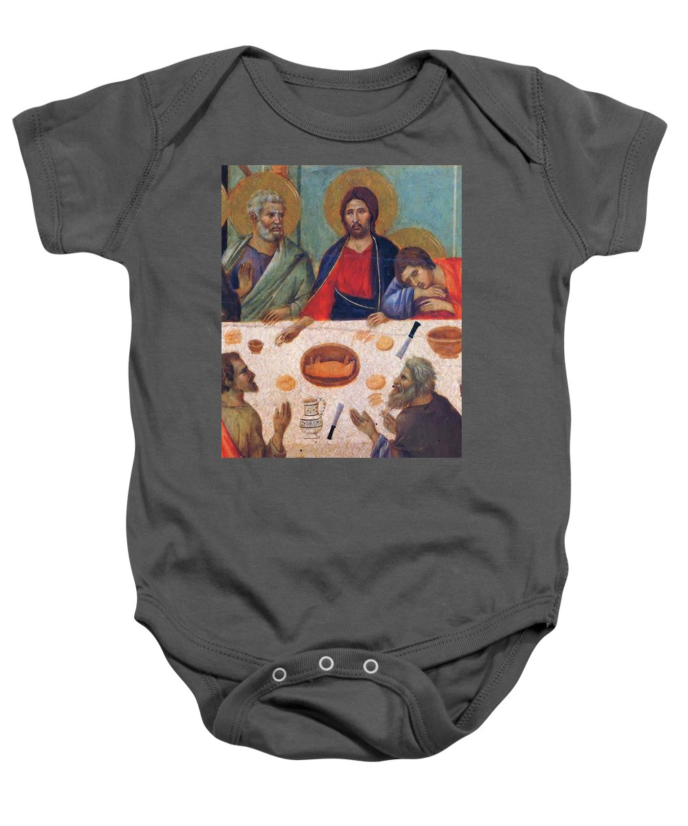 The Baby Onesie featuring the painting The Last Supper Fragment 1311 by Duccio