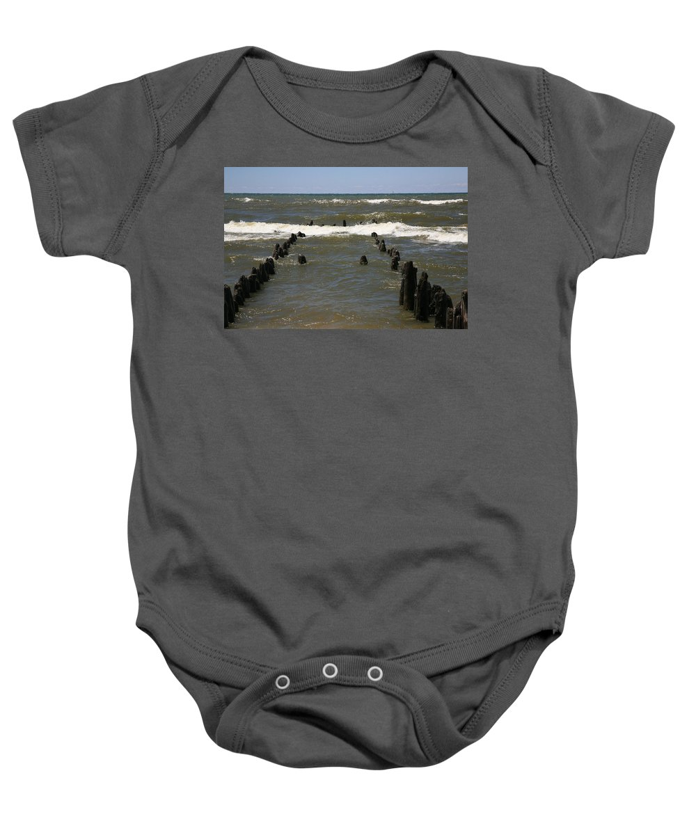 Sand Surf Baby Onesie featuring the photograph The Last Wooden Pier by Robert Pearson