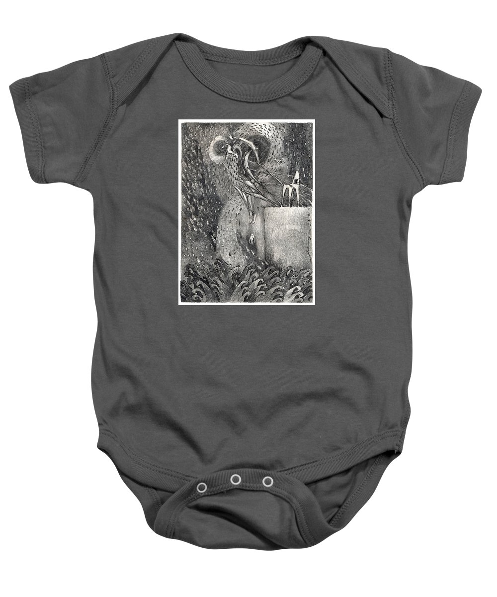 Leap Baby Onesie featuring the drawing The Leap by Juel Grant