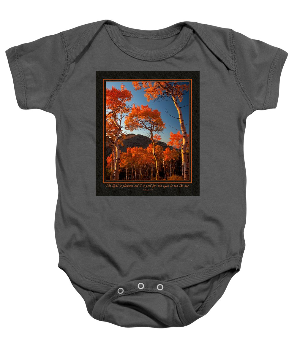 Bible Baby Onesie featuring the photograph The Light Is Good by Ward Thurman