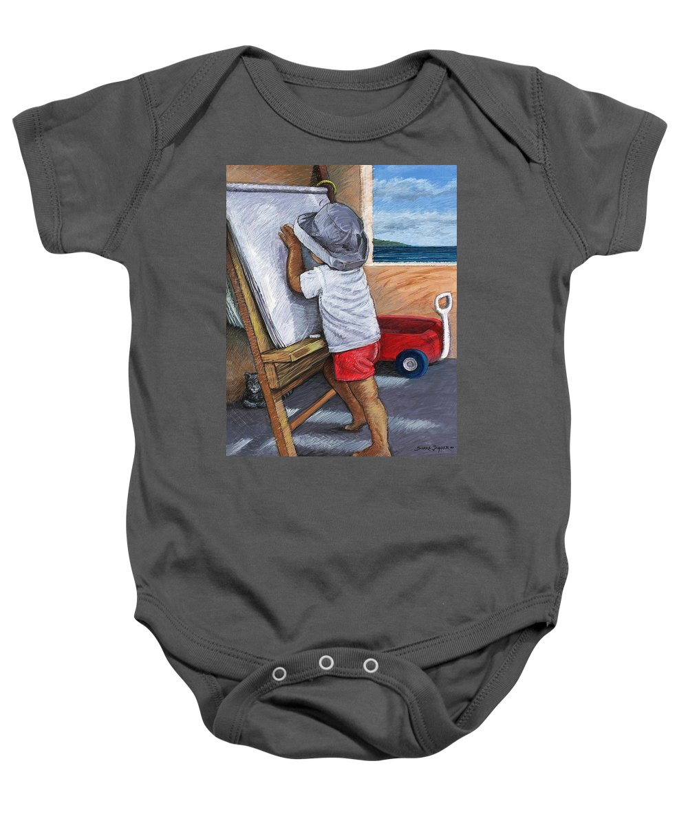 Young Artist Baby Onesie featuring the painting The Little Artist by Snake Jagger