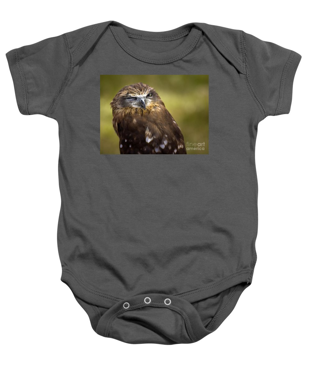 Owl Baby Onesie featuring the photograph The Little Owl by Angel Ciesniarska