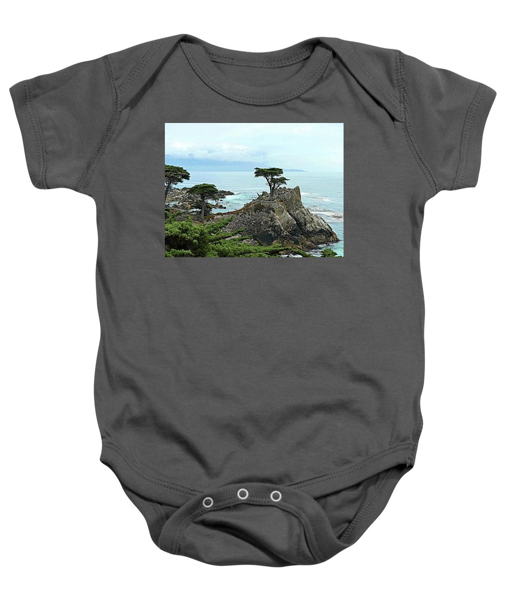 Lone Cypress Baby Onesie featuring the photograph The Lone Cypress Stands Alone by Lyuba Filatova