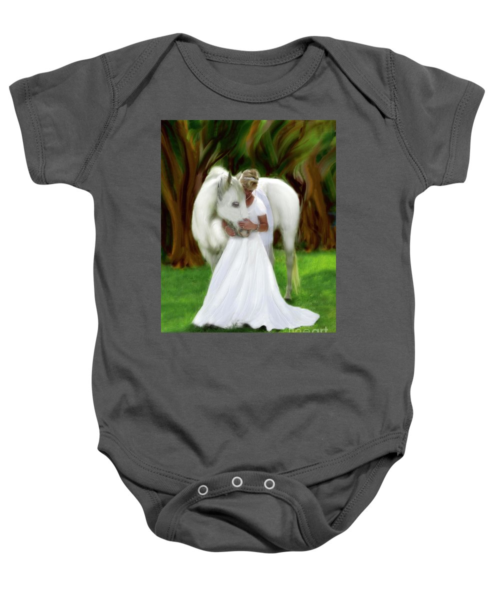 Bride Of Christ Art Baby Onesie featuring the painting The Longing 2 by Constance Woods
