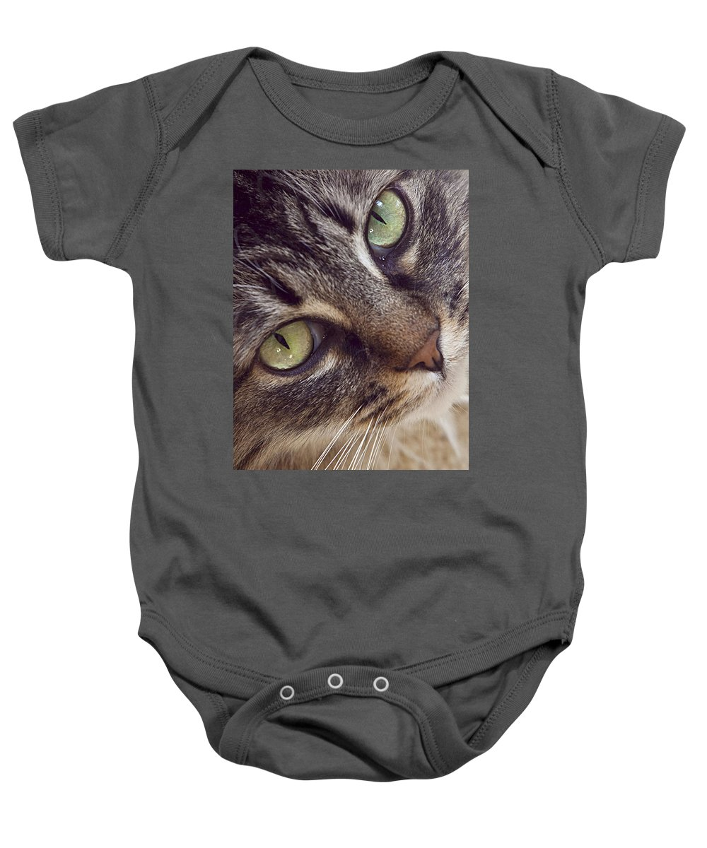 Cat Baby Onesie featuring the photograph The Look Of Love by Lynn Andrews