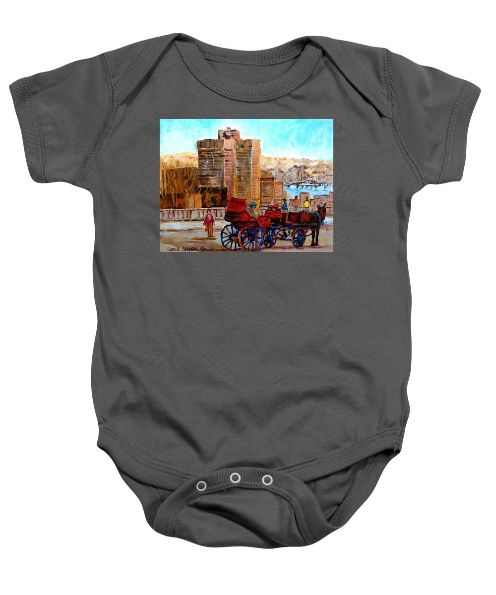 Montreal Street Scene Baby Onesie featuring the painting The Lookout On Mount Royal Montreal by Carole Spandau