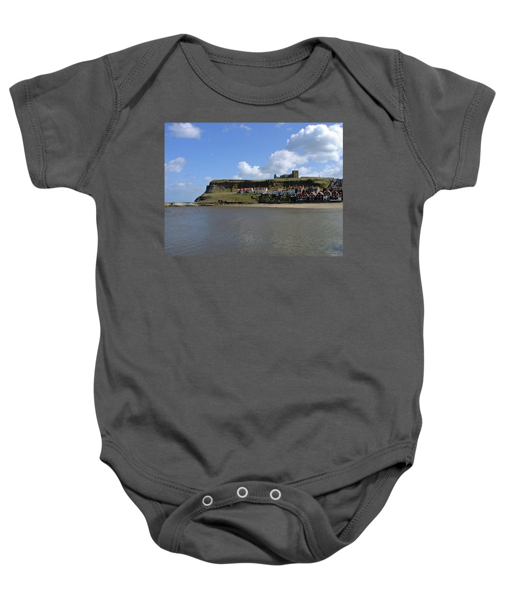 Whitby Abbey Baby Onesie featuring the photograph The Majestic East Cliff by Rod Johnson