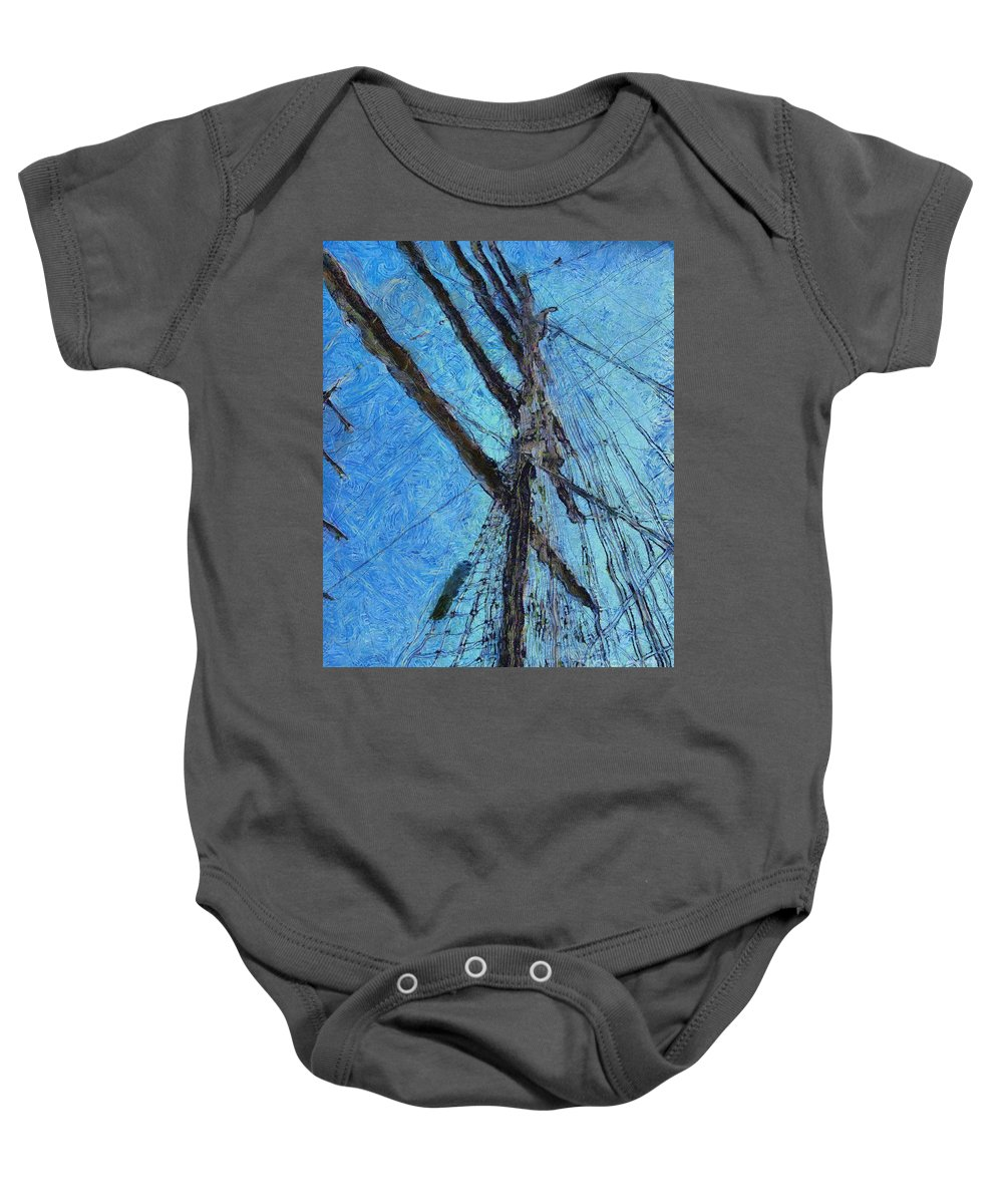 Sureal Baby Onesie featuring the pyrography The Mast And The Wind by Yury Bashkin