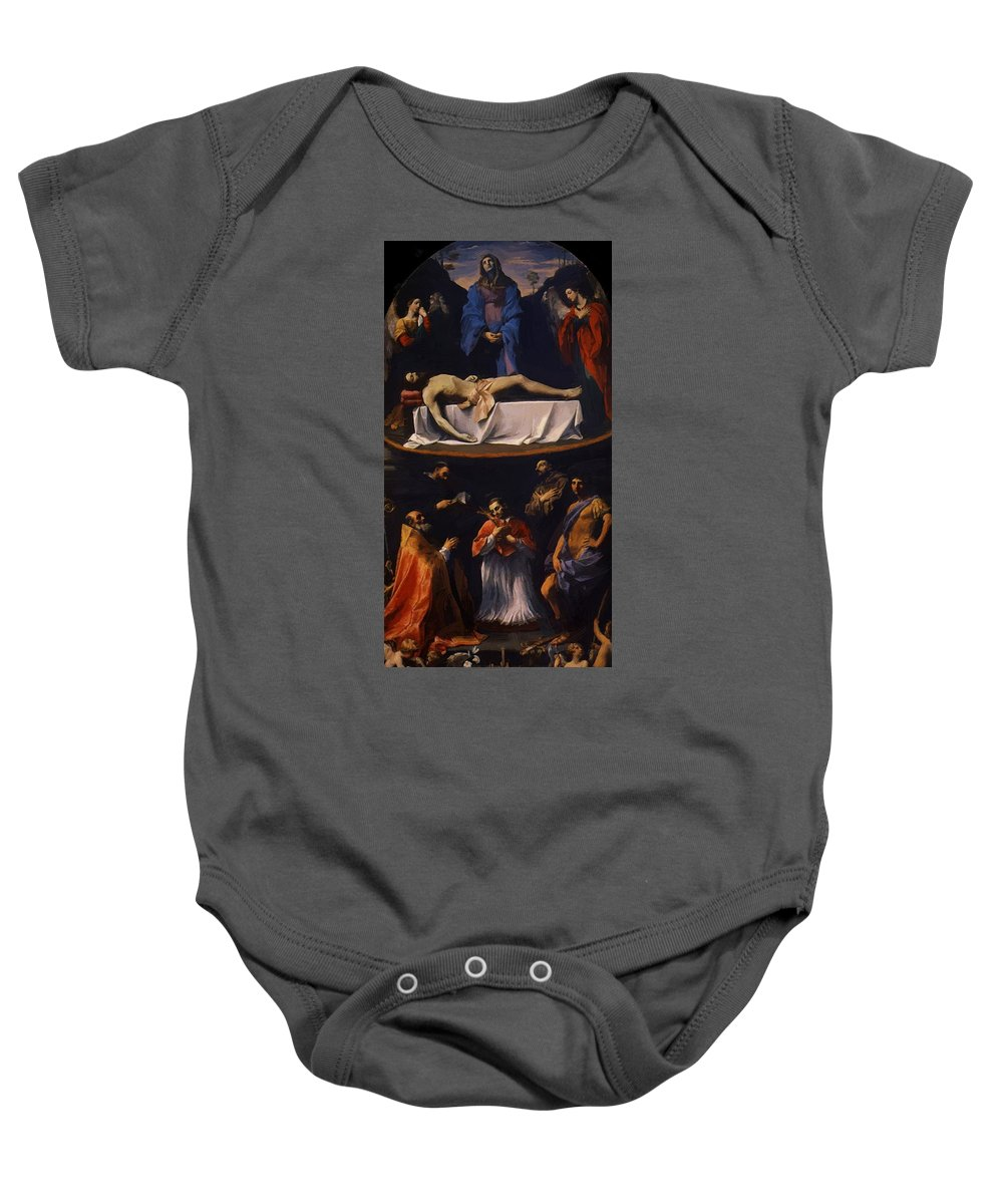 The Baby Onesie featuring the painting The Mendicantini Pieta 1616 by Reni Guido