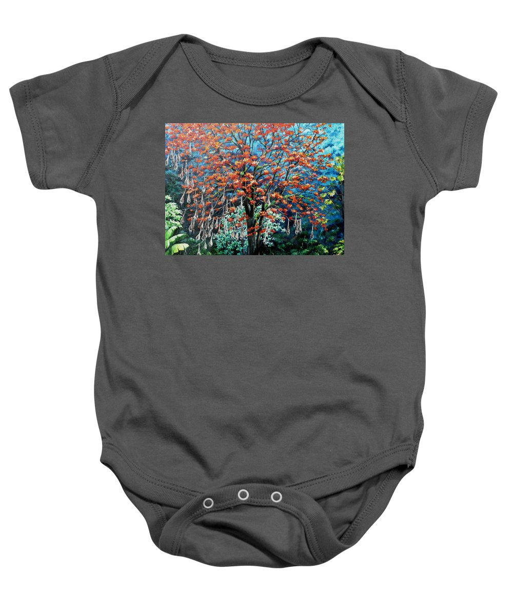 Tree Painting Mountain Painting Floral Painting Caribbean Painting Original Painting Of Immortelle Tree Painting  With Nesting Corn Oropendula Birds Painting In Northern Mountains Of Trinidad And Tobago Painting Baby Onesie featuring the painting The Mighty Immortelle by Karin Dawn Kelshall- Best